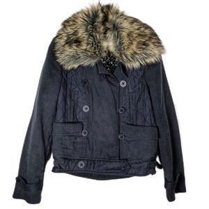 Rebecca Taylor S Bomber jacket removable fur sz M